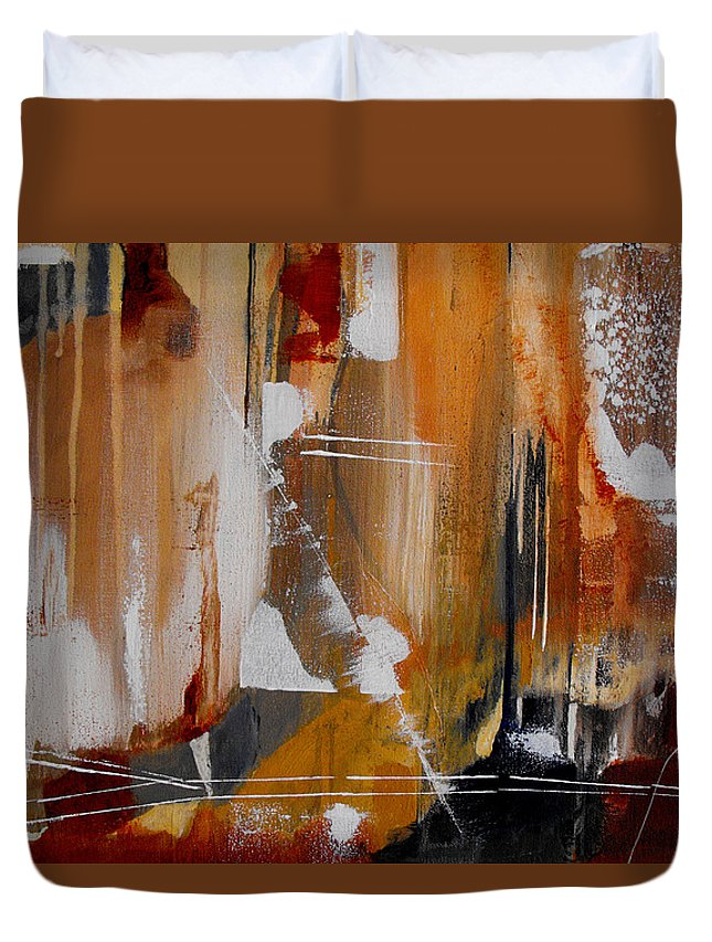 Abstract Duvet Cover featuring the painting Turbulent Times II by Ruth Palmer