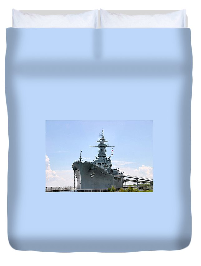 Warship Duvet Cover featuring the photograph Uss Alabama by Kristin Elmquist