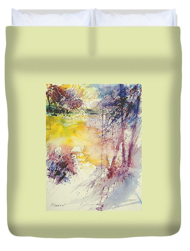 River Duvet Cover featuring the painting Watercolor 007 by Pol Ledent