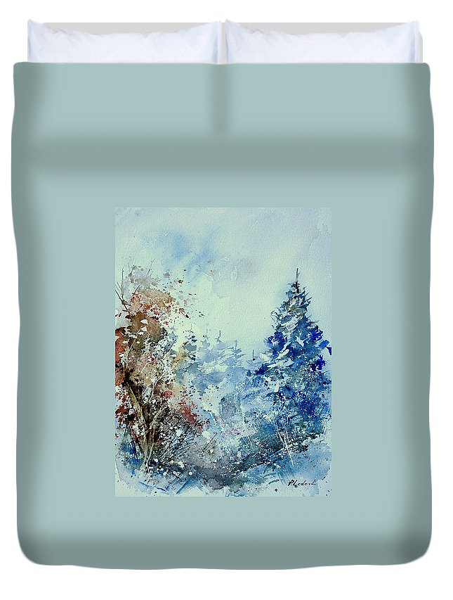 Tree Duvet Cover featuring the painting Watercolor 010307 by Pol Ledent