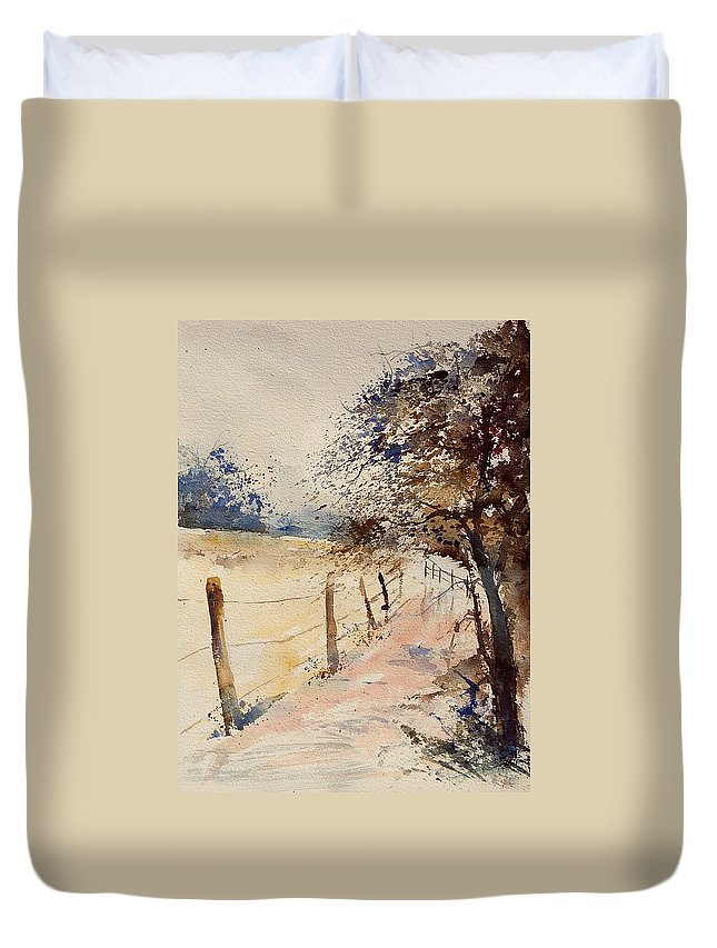 Tree Duvet Cover featuring the painting Watercolor 041106 by Pol Ledent