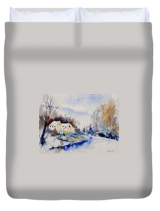 Winter Duvet Cover featuring the painting Watercolor 080408 by Pol Ledent
