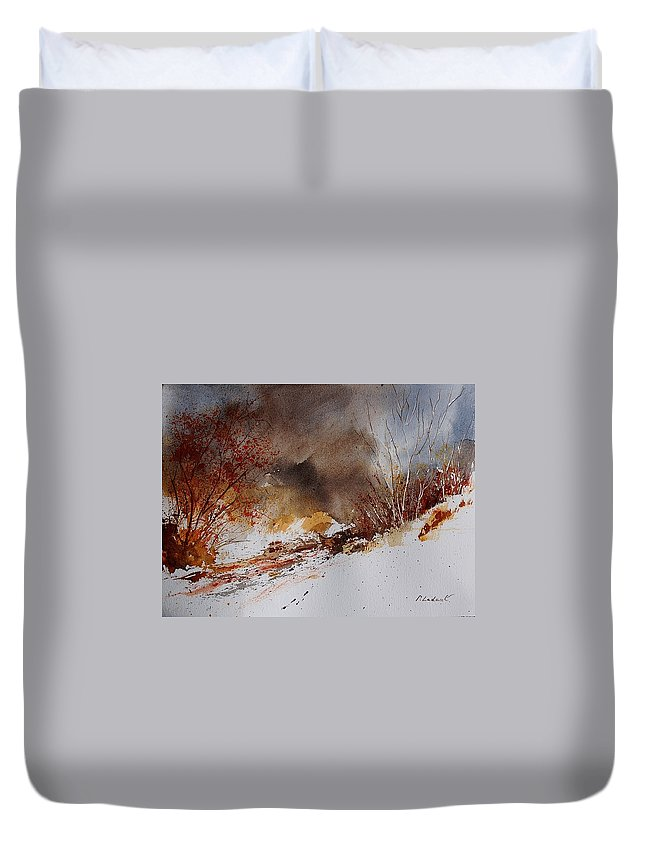 Winter Duvet Cover featuring the painting Watercolor 100508 by Pol Ledent
