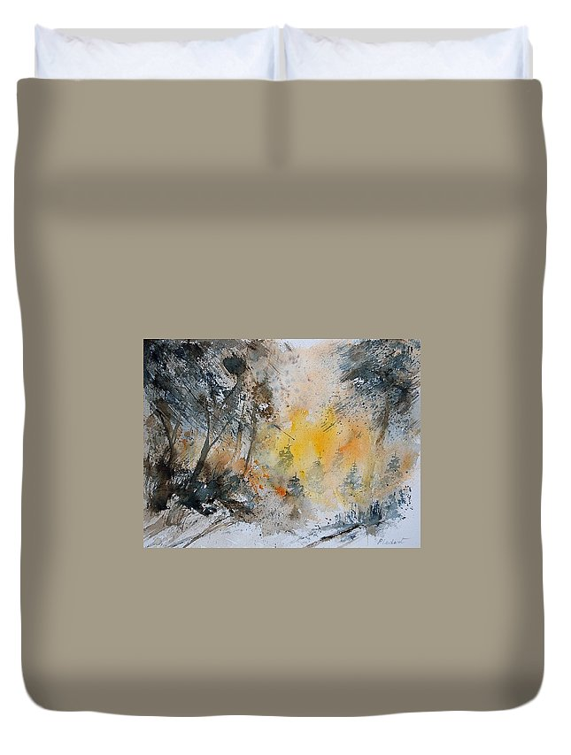 Tree Duvet Cover featuring the painting Watercolor 131206 by Pol Ledent