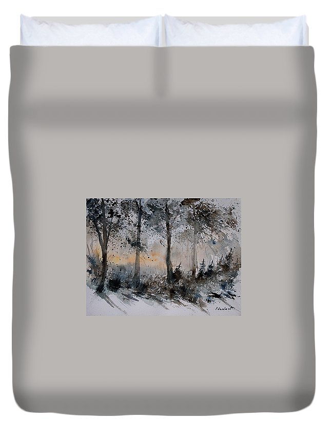 Tree Duvet Cover featuring the painting Watercolor 141206 by Pol Ledent