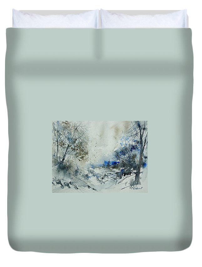 Winter Duvet Cover featuring the painting Watercolor 210307 by Pol Ledent