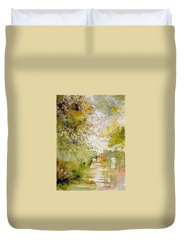 Water Duvet Cover featuring the painting Watercolor 211005 by Pol Ledent
