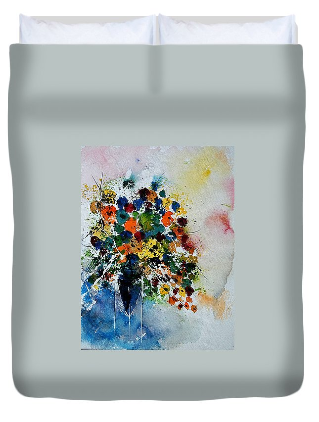 Flowers Duvet Cover featuring the painting Watercolor 220407 by Pol Ledent