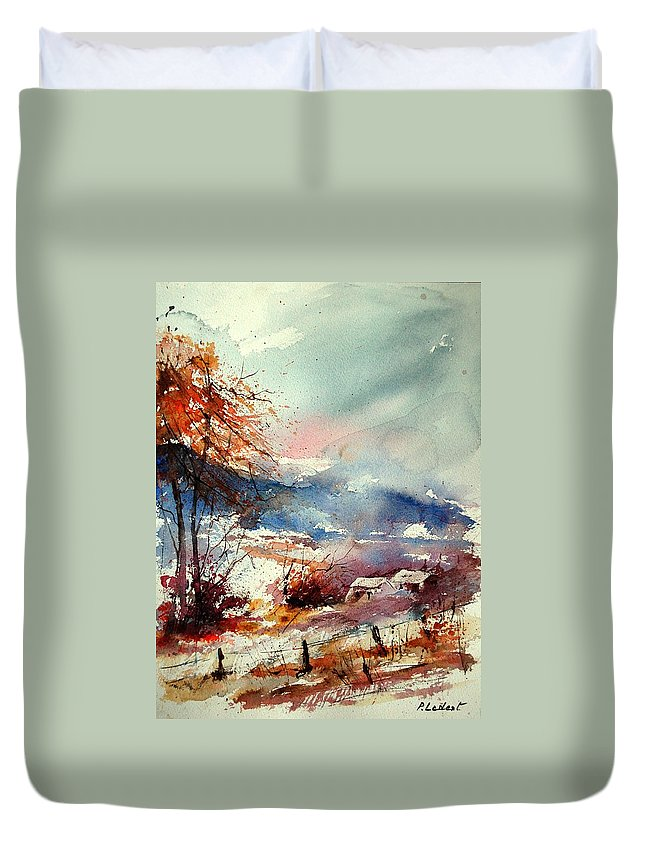 Winter Duvet Cover featuring the painting Watercolor 221108 by Pol Ledent