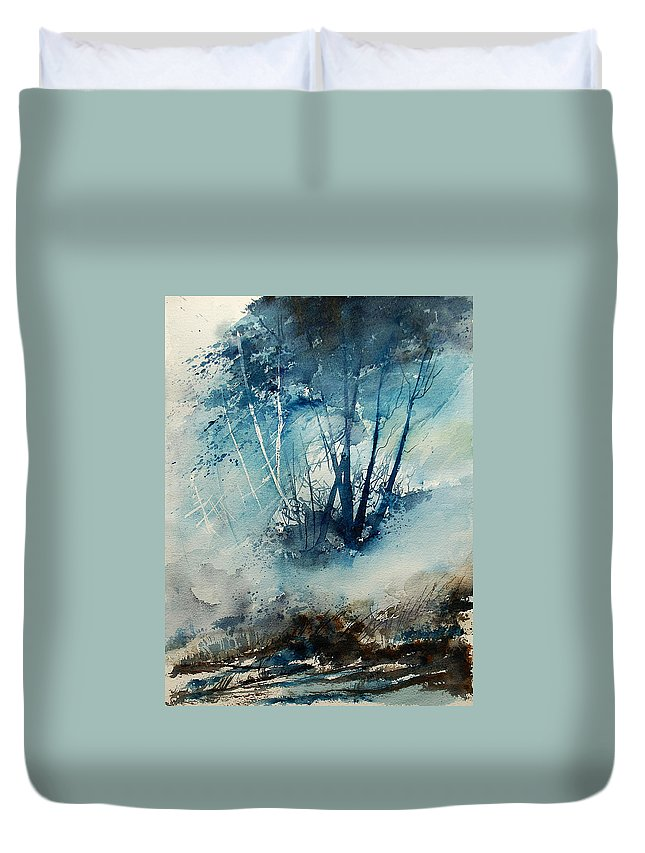 Tree Duvet Cover featuring the painting Watercolor 230907 by Pol Ledent
