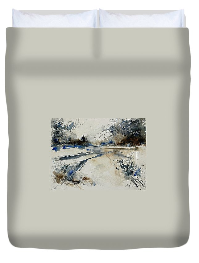 Winter Duvet Cover featuring the painting Watercolor 240906 by Pol Ledent