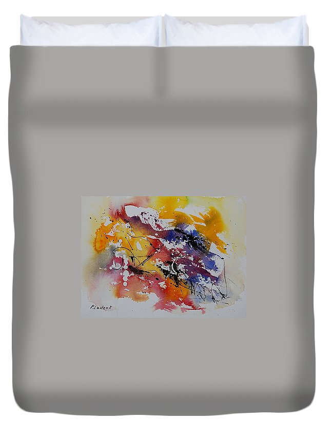 Abstract Duvet Cover featuring the painting Watercolor 902022 by Pol Ledent