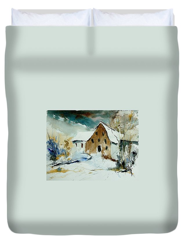 Winter Duvet Cover featuring the painting Watercolor 9696 by Pol Ledent