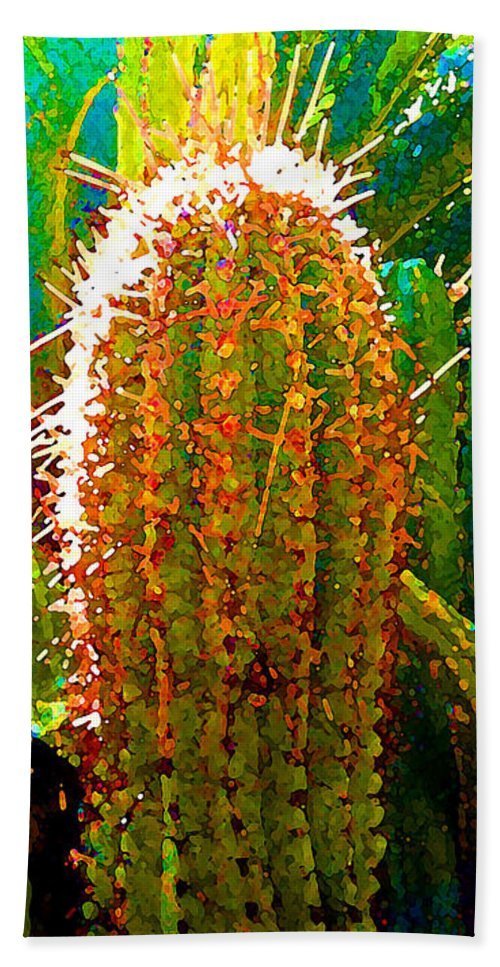 Succulent Bath Towel featuring the painting Backlit Cactus by Amy Vangsgard
