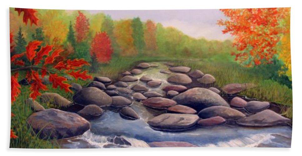 Rick Huotari Hand Towel featuring the painting Cherokee Park by Rick Huotari