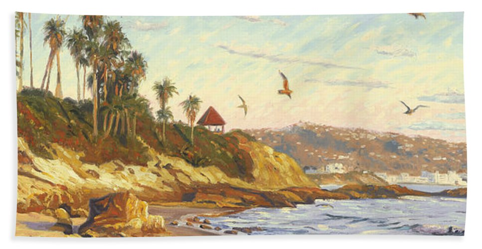 Twilight Hand Towel featuring the painting Heisler Park Rockpile At Twilight by Steve Simon
