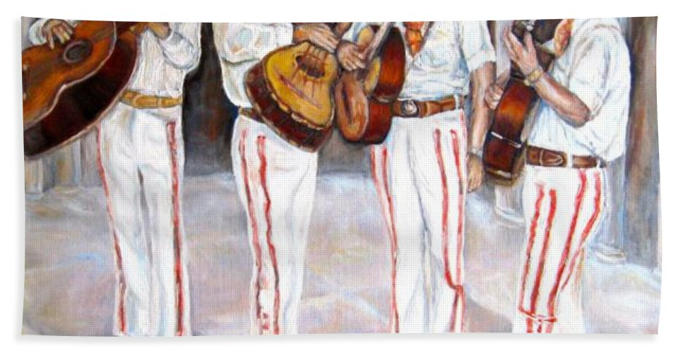 Mariachis Hand Towel featuring the painting Mariachi Musicians by Carole Spandau