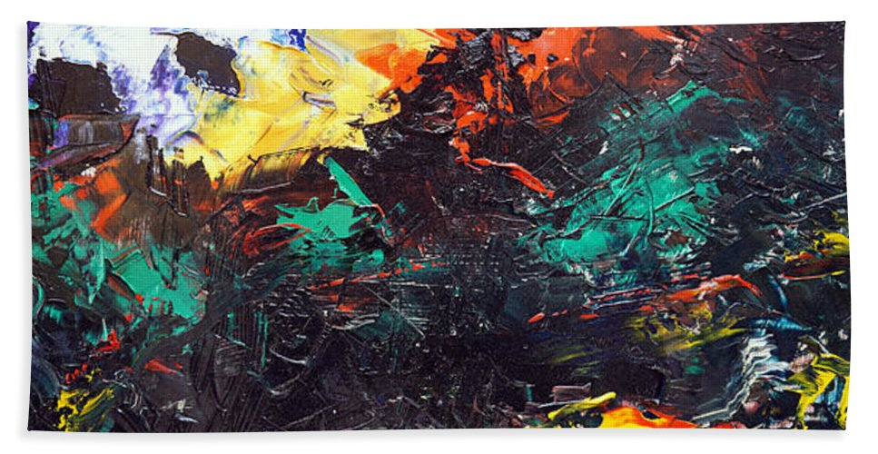 Vision Bath Sheet featuring the painting Schizophrenia by Sergey Bezhinets