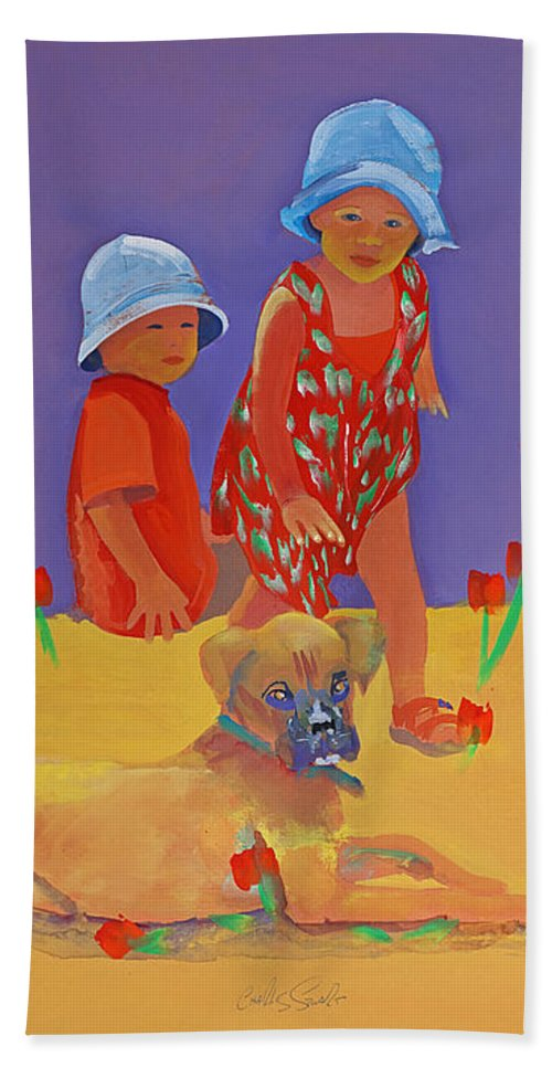 Boxer Dog Hand Towel featuring the painting The Boxer Puppy by Charles Stuart