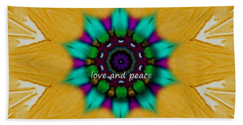 Collageart Hand Towel featuring the mixed media Love And Peace Art by Pepita Selles