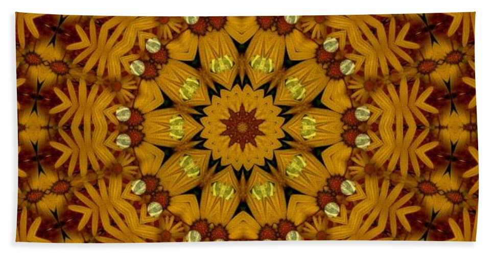 Flowers Hand Towel featuring the mixed media Popart Flowers by Pepita Selles