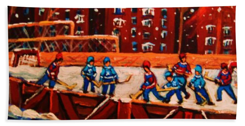 Ice Hockey Bath Towel featuring the painting Snow Falling On The Hockey Rink by Carole Spandau