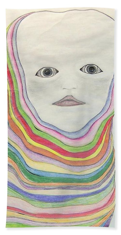Abstract Bath Sheet featuring the drawing  The Masks by Deahn   Benware
