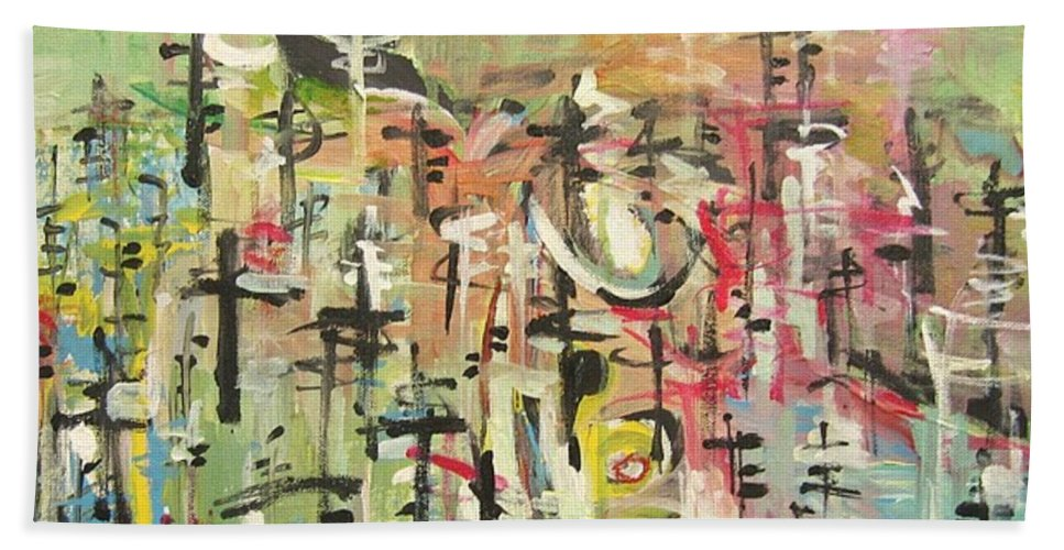 Blow Me Down Painting Bath Towel featuring the painting Blow Me Down11 by Seon-Jeong Kim