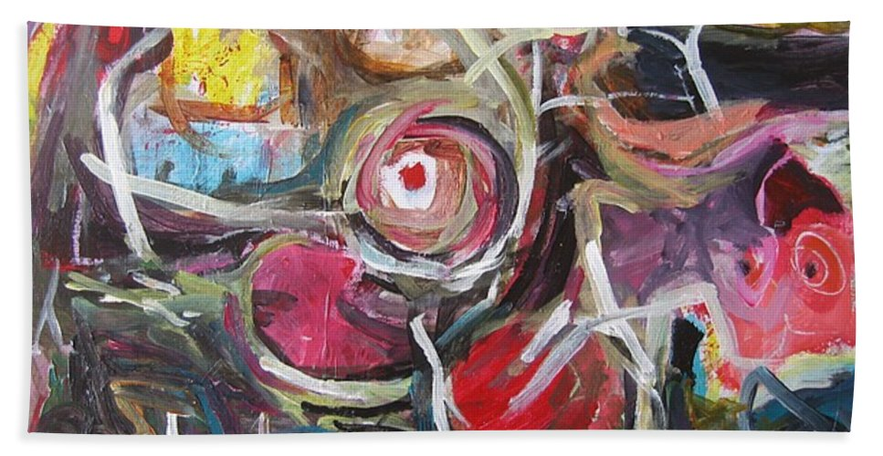Abstract Paintings Hand Towel featuring the painting Abandoned Ideas3 by Seon-Jeong Kim