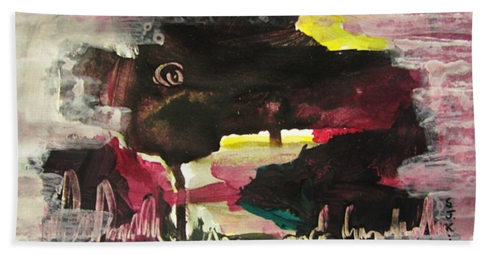 Dusk Paintings Hand Towel featuring the painting Abstract Twilight Landscape71 by Seon-Jeong Kim