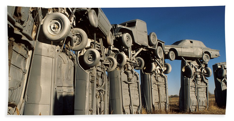 Car Henge Bath Sheet featuring the photograph Carhenge In The Afternoon by Jerry McElroy