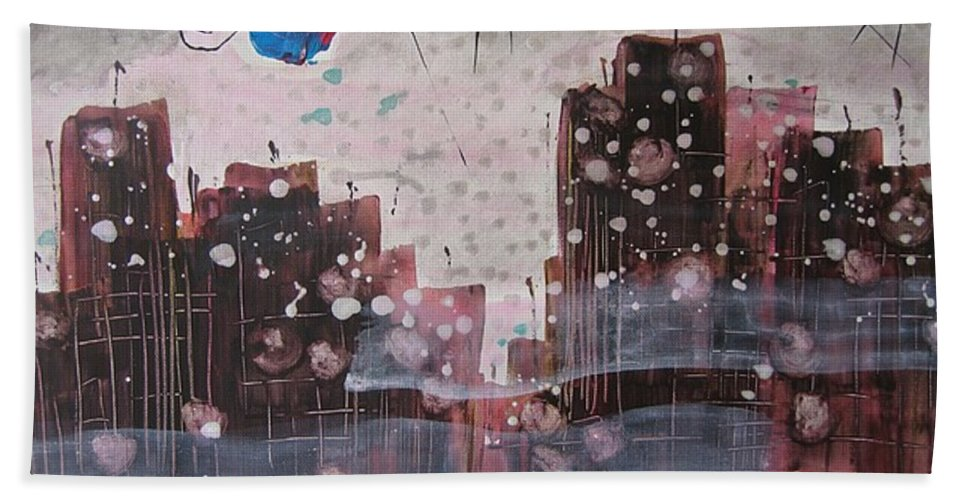 Brown Paintings Bath Sheet featuring the painting Cityscape by Seon-Jeong Kim