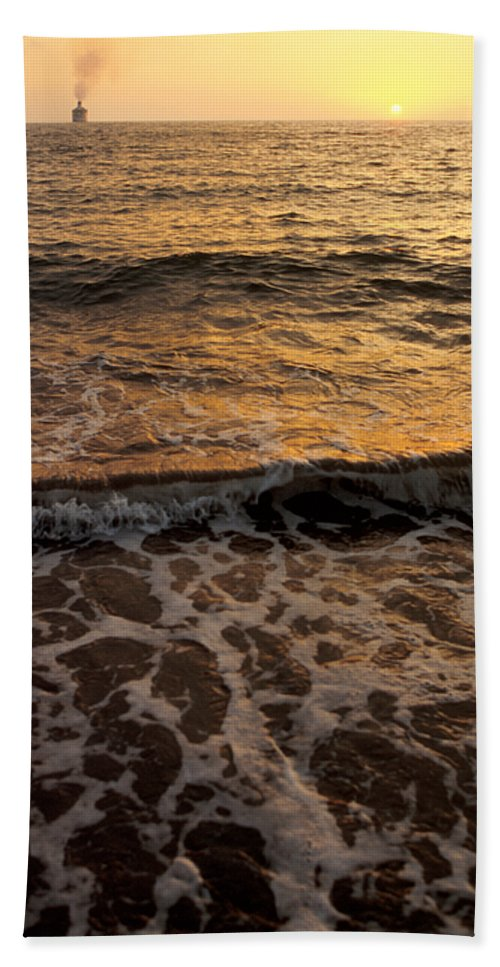 Cruise Bath Sheet featuring the photograph Cruise Ship Off The Beach by Jerry McElroy