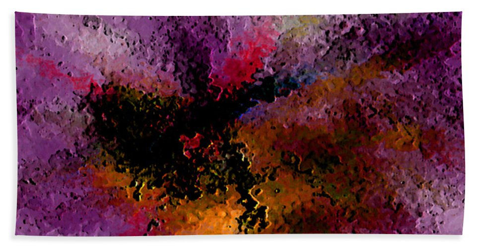 Abstract Hand Towel featuring the digital art Damaged But Not Broken by Ruth Palmer