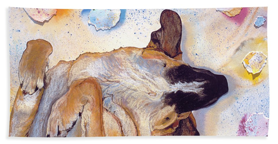 Sleeping Dog Bath Sheet featuring the painting Dog Dreams by Pat Saunders-White