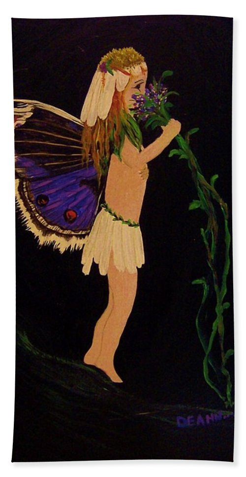 Fairy Hand Towel featuring the painting Fairy Girl by Deahn   Benware
