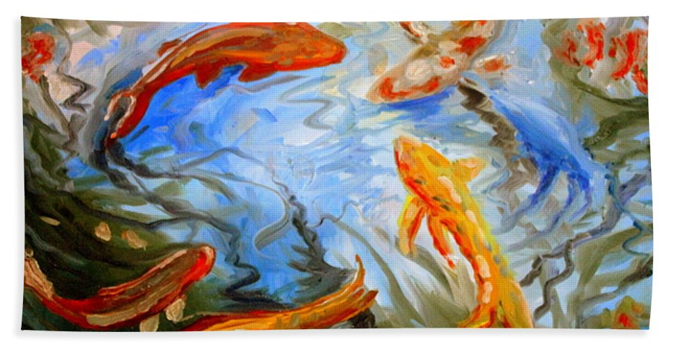 Oil Bath Sheet featuring the painting Fish Reflections by Elizabeth Robinette Tyndall