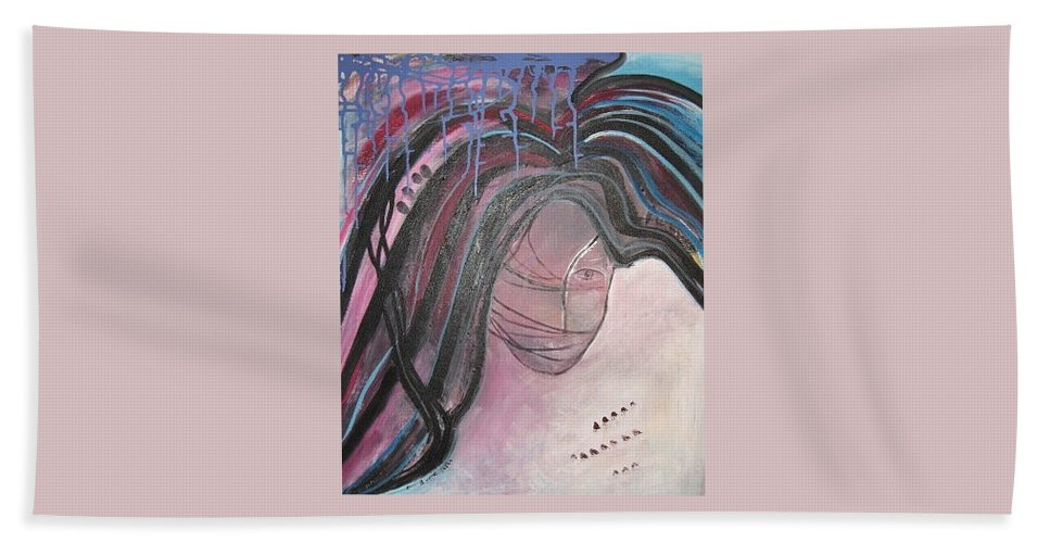 Abstract Paintings Hand Towel featuring the painting I by Seon-Jeong Kim