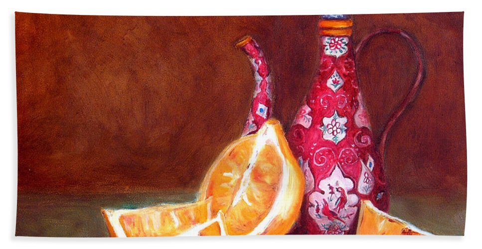 Lemons Hand Towel featuring the painting Iranian Lemons by Portraits By NC
