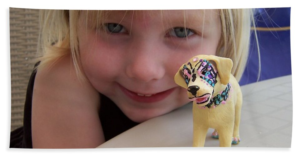 Kids Photo Hand Towel featuring the painting Lacey's Face Painted Dog by Deahn   Benware