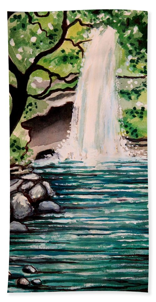 Tropical Bath Sheet featuring the painting Mystical Waterfall by Elizabeth Robinette Tyndall