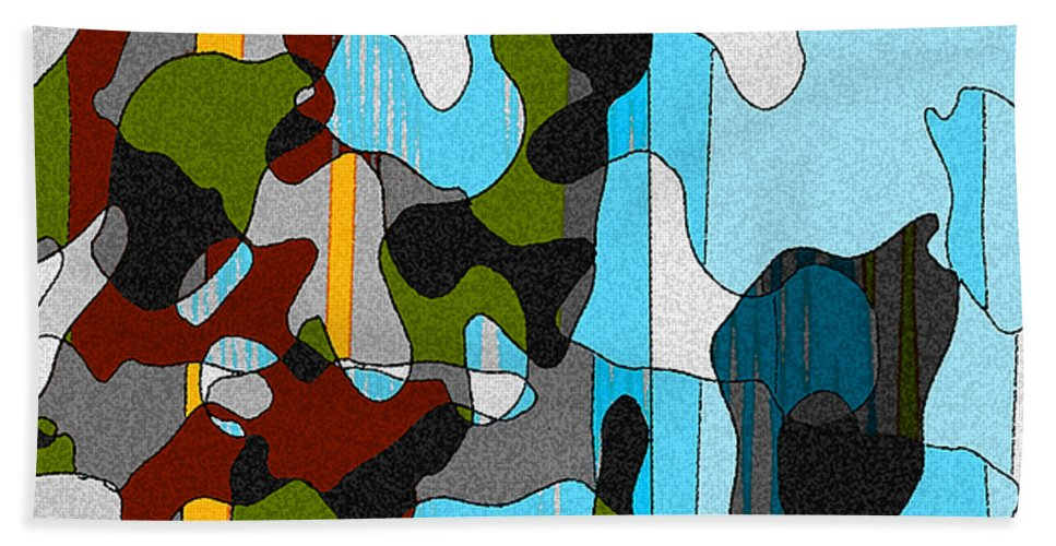 Abstract Bath Sheet featuring the mixed media Puddlesponge by Ruth Palmer