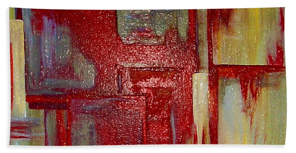 Abstract Hand Towel featuring the digital art Sections Revisited by Ruth Palmer