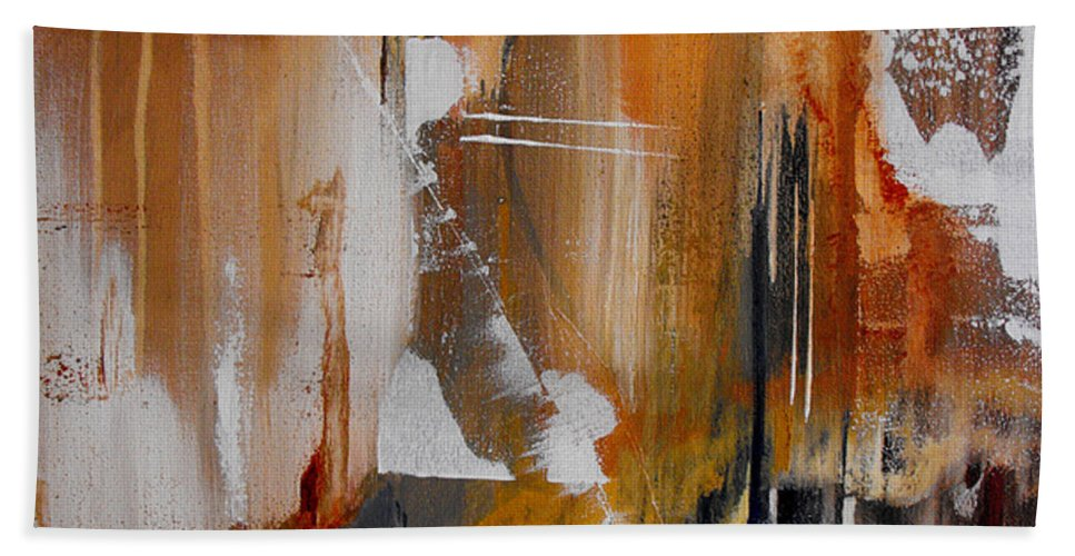 Abstract Bath Sheet featuring the painting Turbulent Times II by Ruth Palmer