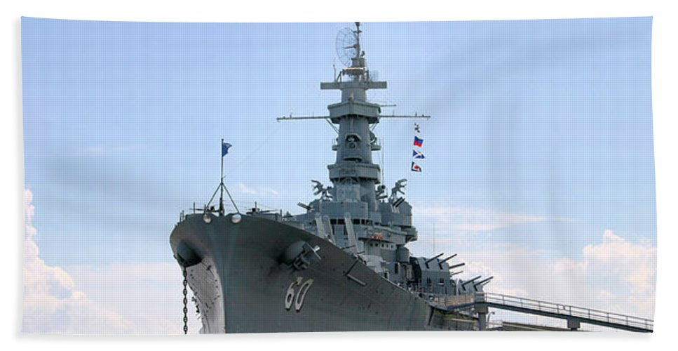 Warship Hand Towel featuring the photograph Uss Alabama by Kristin Elmquist