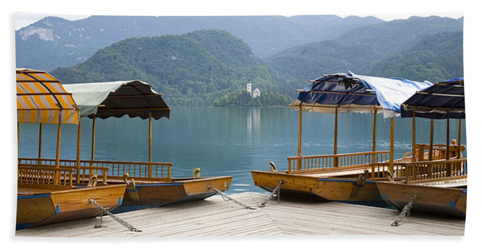 Tourism Hand Towel featuring the photograph View Across Lake Bled by Ian Middleton