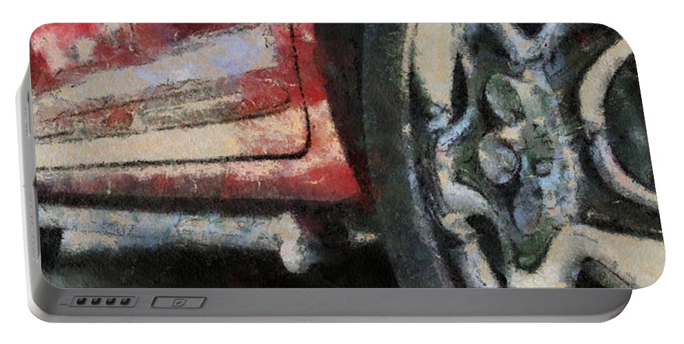 Aluminum Portable Battery Charger featuring the photograph Car Rims 02 Photo Art 03 by Thomas Woolworth