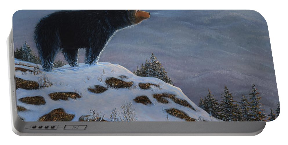 Wildlife Portable Battery Charger featuring the painting Last Look Black Bear by Frank Wilson