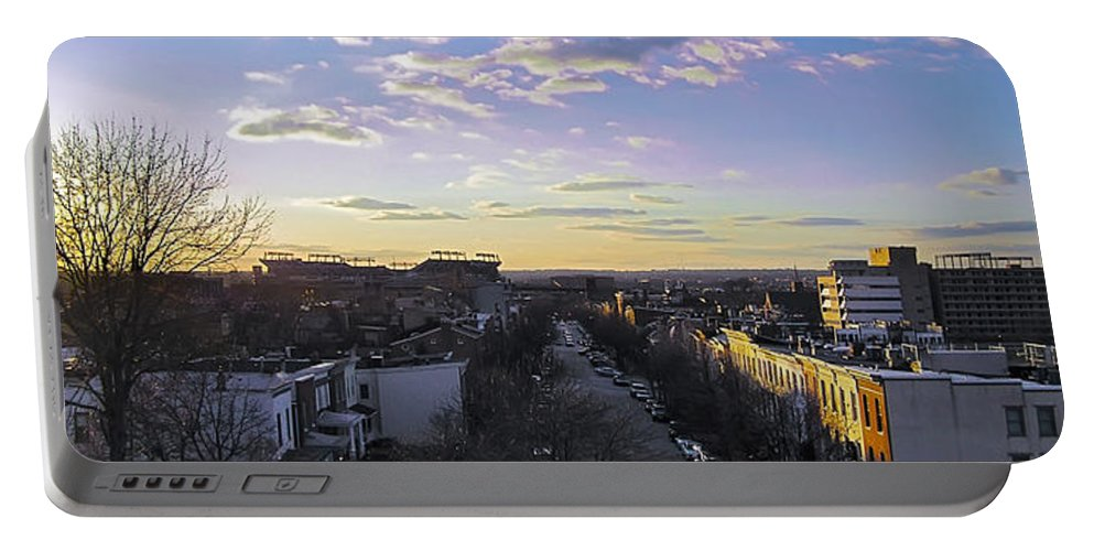 2d Portable Battery Charger featuring the photograph Sunset Row Homes by Brian Wallace
