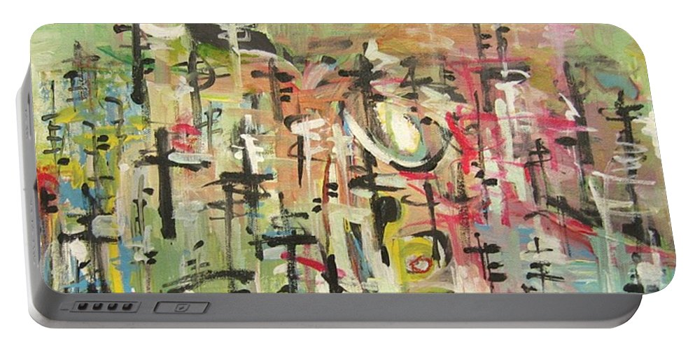 Blow Me Down Painting Portable Battery Charger featuring the painting Blow Me Down11 by Seon-Jeong Kim